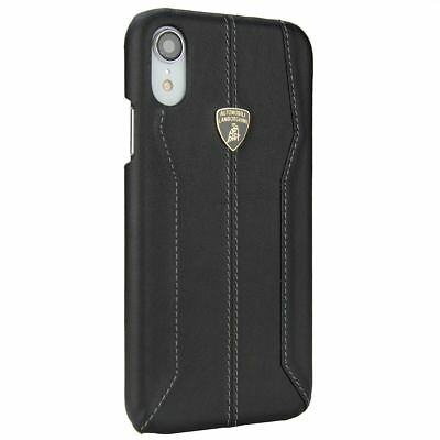 Lamborghini Huracan-D1 Black Leather Back Cover for iPhone XR (6.1)