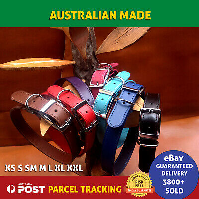 Genuine Leather Dog Collar Stitched High Quality Full Buckle + D-Ring ALL SIZES