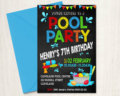Printable Personalised Boy Birthday Invitation Pool Party Any Age Chalkboard