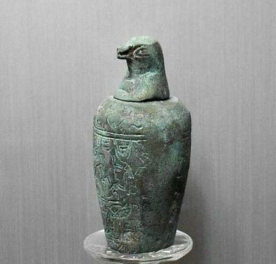 ANCIENT EGYPT ANTIQUE Egyptian metal son of Horus Canopic Jar Qebehsenuef 1500BC