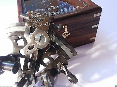"""4"""" Antique Brass Sextant German Marine Sextant With Wooden Box"""