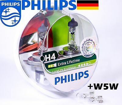 NEW Philips H4 Long Life Eco Vision Halogen Headlights Car Bulbs 12V 55W P43t-38