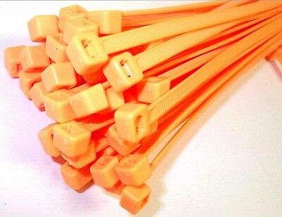 Cable ties. 200 x 4.8mm. Fluorescent. Orange. Pack of 1000. *Top Quality!