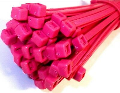 Cable ties. 200 x 4.8mm. Fluorescent. Pink. Pack of 1000. *Top Quality!