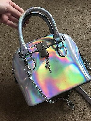 ALDO Faux Leather Holographic Iridescent Hand Bag Cross Body Silver Key Blogger