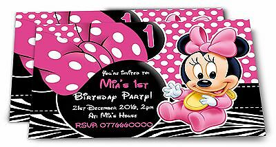 Personalised Minnie Mouse Kids Birthday Party Invitations
