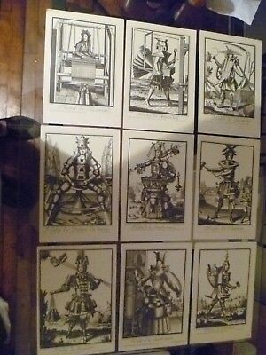 Nine Antique French 'nicolas Larmessin' Prints. 'the Dance Of Work' 'steam Punk'