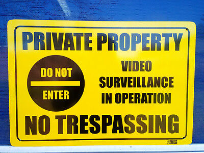 Private Property Do Not Enter Video Surveillance Metal Safety Sign 450x600mm
