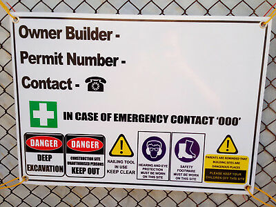 Owner Builder Corflute Sign Construction Site  900Mmx600Mm - 5Mm Fast Delivery
