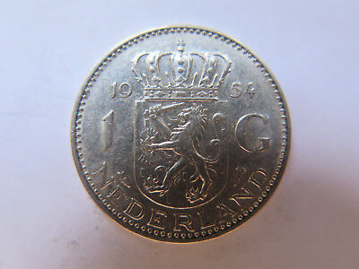 1954 NETHERLANDS HOLLAND 1 GULDEN SILVER COIN in EXCELLENT CONDITION