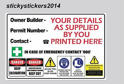Owner Builder Corflute Safety Sign Construction Site  600Mmx450Mm -3Mm Fast Post
