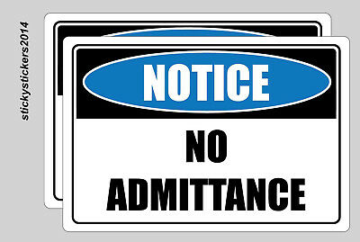 Notice No Admittance Pack 2 Metal Safety Sign 300x450mm Fast Delivery