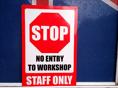 Stop No Entry Staff Only Pack 2 Metal Safety Sign 300x450mm Fast Delivery