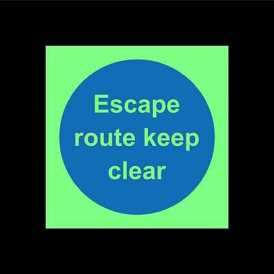 Escape route keep clear - Photoluminescent Safety sign