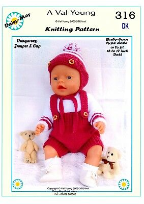 DOLLS KNITTING PATTERN FOR BABY BORN 16/17ins doll No 316 - by Val Young