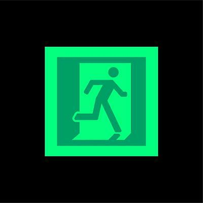 Fire exit running man Right symbol safety sign - Photoluminescent