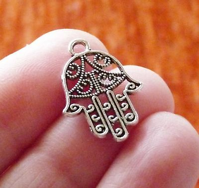 10 HAMSA HAND Charms Antique Silver Tone 2 Sided Designs - SC1309