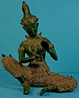 Vintage Thai Solid Brass Gandharvan Celestial 'Ching Cymbals' Musician Statue