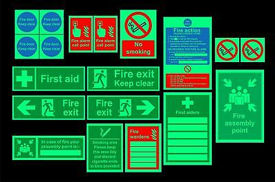 Safety sign starter pack - 19 Qty - Photoluminescent signs