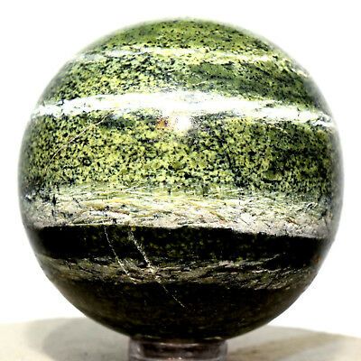"""2.1"""" Serpentine Chrysotile Sphere Natural Striped Sparkling Mineral Ball Brazil"""