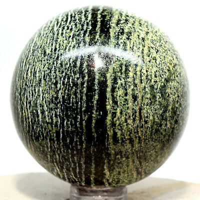 """2"""" Chrysotile Serpentine Sphere Sparkling Natural Striped Crystal Ball - Brazil"""