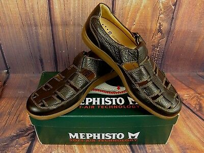 Mephisto Men s Shoes Sandals Loafers Black Leather Fisherman Nevan France  8.5M 8abc4727389
