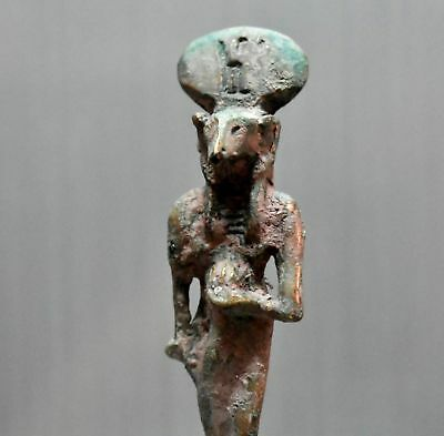 ANCIENT ANTIQUE Egyptian EGYPTIAN bronze statue of Khnum (300-1500 BC