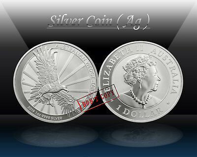 AUSTRALIA 1 DOLLAR 2019 ( WEDGE-TAILED EAGLE ) 1oz SILVER coin (Ag 999/1000) UNC