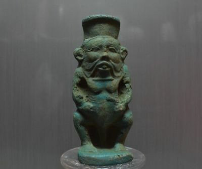 ANCIENT EGYPT ANTIQUE EGYPTIAN BES faience Statue (300-1500 BC)