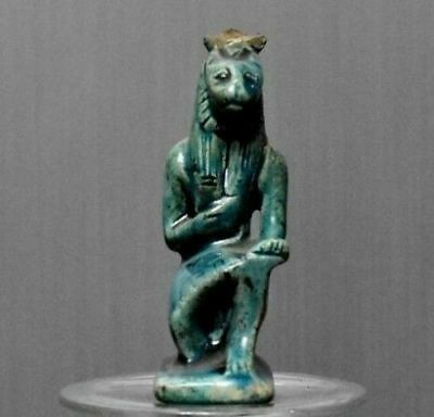 ANCIENT EGYPT ANTIQUE Egyptian glazed faience kneeling of SEKHMET(300-1500)BC