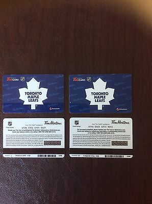 Tim Hortons Toronto Maple Leafs Gift Cards.  4 CARDS. Mint Condition.