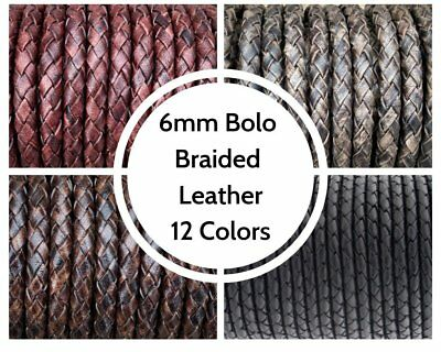 6mm Bolo Braided Leather Cord 12 Colors By The Yard Genuine Leather Free Ship