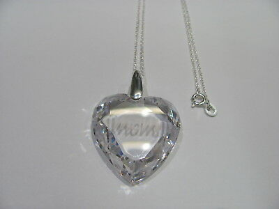 12965 OLD PAWN Sterling Silver Clear Heart Crystal MOM Charm Necklace
