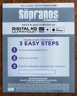 The Sopranos Complete Series Digital Code, Message Delivery, No Discs, Code Only