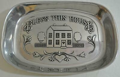 NICE - RWP WILTON ARMETALE Pewter BLESS THIS HOUSE Serving Tray Platter 9 1/2""