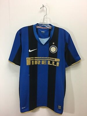 Vintage Inter Milan Nike Fit Soccer Football Jersey Size Large Blue Black 34000ef53