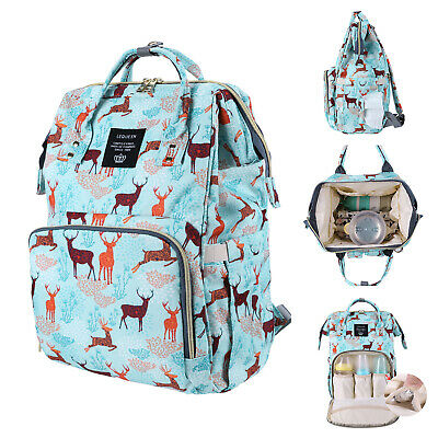 LEQUEEN Mummy Maternity Nappy Diaper Bag Deer Large Baby Nursing Travel Backpack