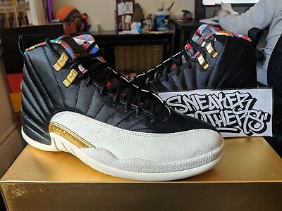 new product 47095 f7479 NIKE AIR JORDAN Retro XII 12 CNY Chinese New Year Black True Red Sail  CI2977-006
