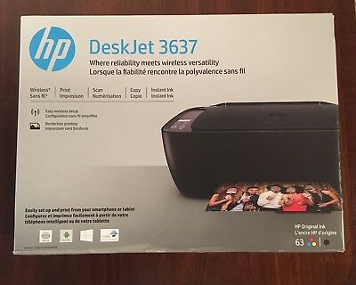 New HP Deskjet 3637 Wireless InkJet Printer In Factory Sealed Box