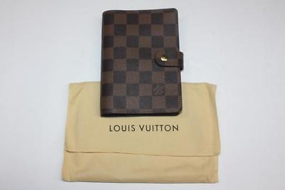Authentic Louis Vuitton Damier Ebene Canvas Small Ring Agenda Cover R20700