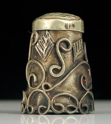 Antique Ornate Sterling Silver Wire Scroll Leaf Design Sewing Thimble Nice !