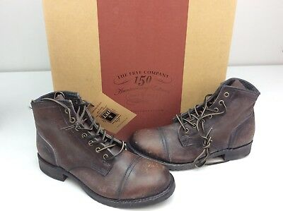 31c8adcf106 FRYE LOGAN CAP Toe Boots Dark Brown Stonewash Leather Mens Made In USA Size  7 D
