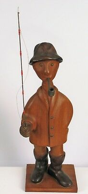 Vintage Hand Made In Italy Carved Gentleman Smoking A Pipe With Fishing Pole !