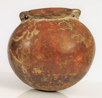 Ancient Pre Columbian Pottery Vessel With Round Base With Small Handles