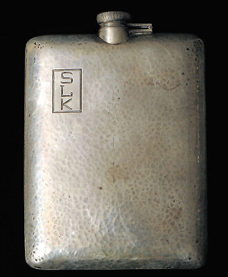 Sterling Silver Hand Hammered Arts & Crafts 5/8 Pint Whiskey Flask Bar Barware !