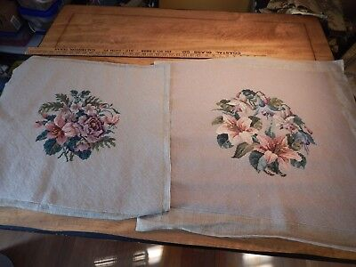"VINTAGE LARGE NEEDLEPOINT PAIR FLORAL WITH BEIGE COLORED BACKGROUND 20"" x 21"""