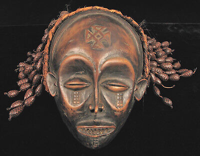 Antique African Hand Carved Wood Mask Tribal Dance Ceremony Decoration Congo !