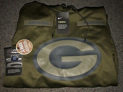 GREEN BAY PACKERS Salute to Service Therma Fit Hoodie 2018 Nike Military STS