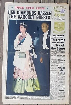 ROYAL VISIT Edition of THE ARGUS Sun. Feb 28th 1954 Full Paper nice clean copy