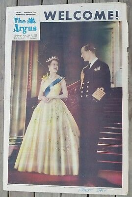 ROYAL VISIT Ed. of THE ARGUS Weds Feb 3rd 1954 Full Paper nice clean copy
